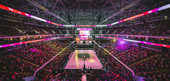 Basketball arena for sports fans